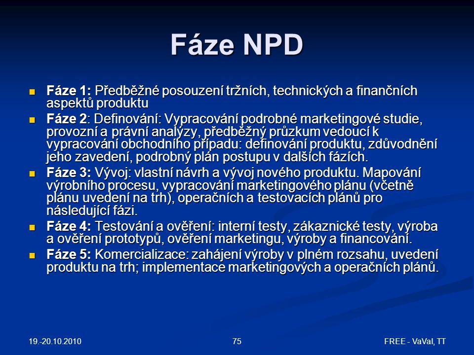 Fáze NPD Fáze 1: Předběžné posouzení tržních, technických a finančních aspektů produktu.