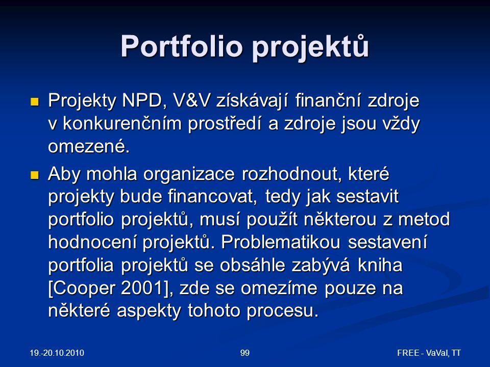 Portfolio projektů Projekty NPD, V&V získávají finanční zdroje v konkurenčním prostředí a zdroje jsou vždy omezené.