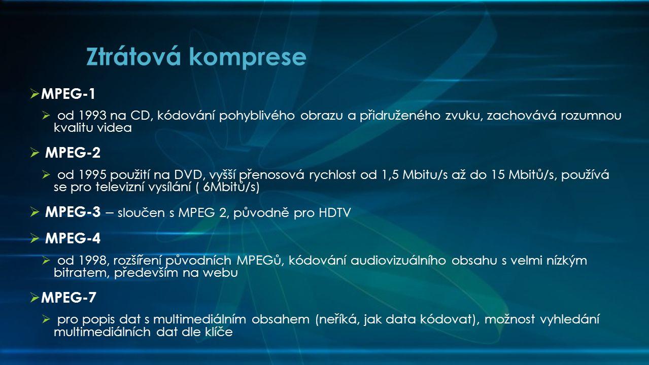 Ztrátová komprese MPEG-1 MPEG-2