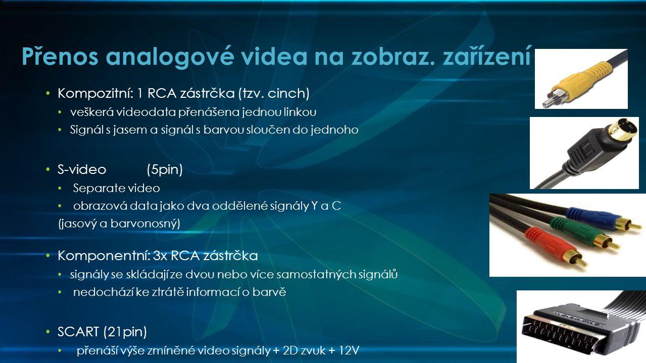 Přenos analogové videa na zobraz. zařízení