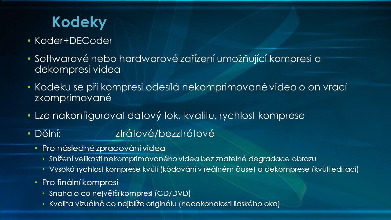 Kodeky Koder+DECoder. Softwarové nebo hardwarové zařízení umožňující kompresi a dekompresi videa.