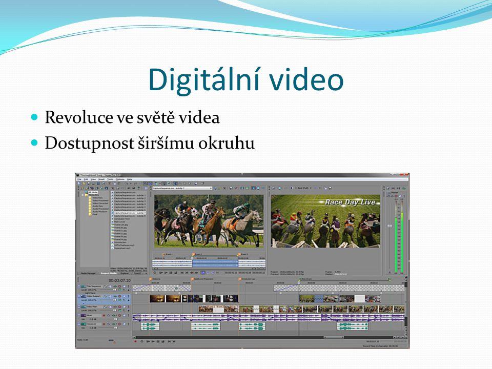 Digitální video Revoluce ve světě videa Dostupnost širšímu okruhu