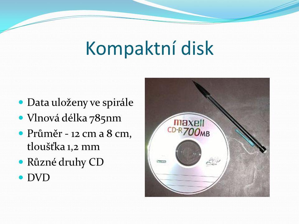 Kompaktní disk Data uloženy ve spirále Vlnová délka 785nm
