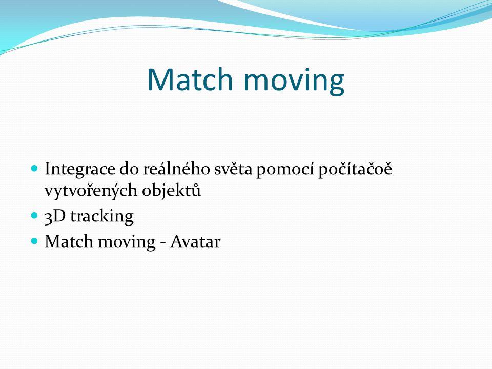 Match moving Integrace do reálného světa pomocí počítačoě vytvořených objektů.