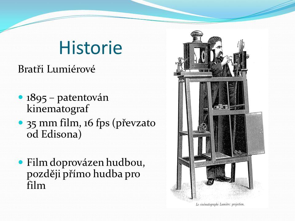Historie Bratři Lumiérové 1895 – patentován kinematograf