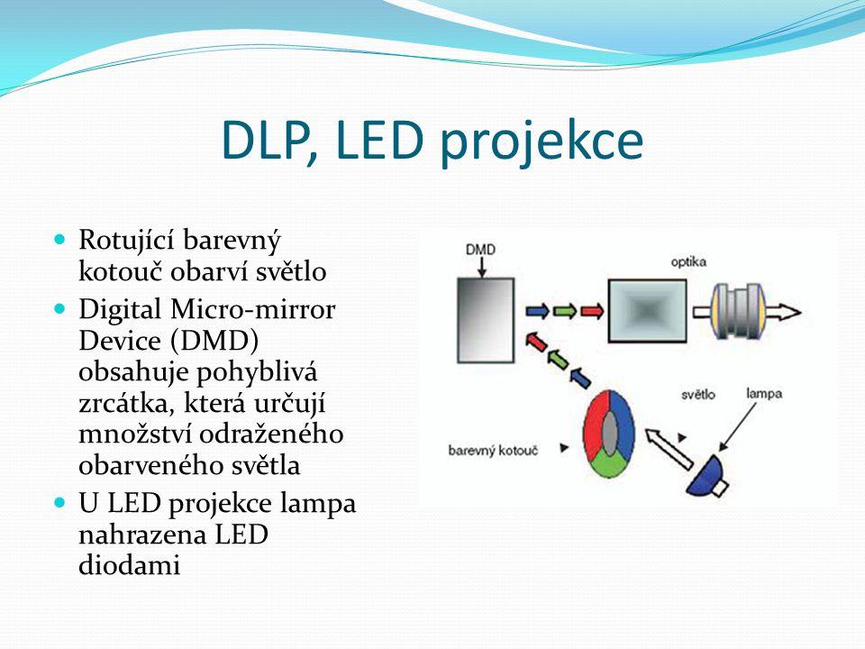 DLP, LED projekce Rotující barevný kotouč obarví světlo