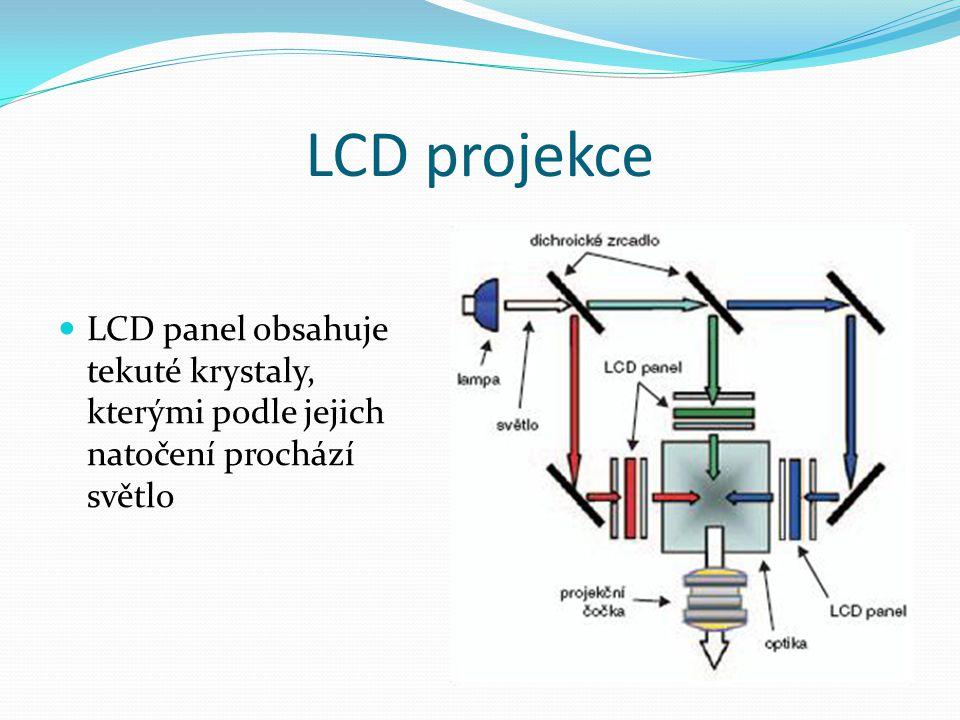 LCD projekce LCD panel obsahuje tekuté krystaly, kterými podle jejich natočení prochází světlo