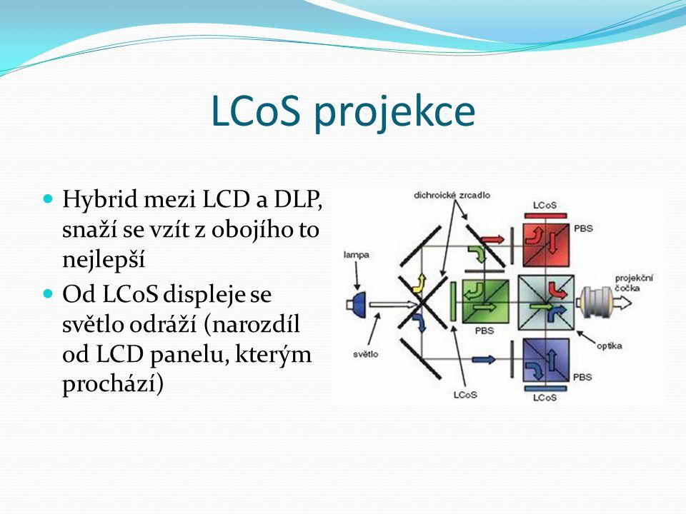 LCoS projekce Hybrid mezi LCD a DLP, snaží se vzít z obojího to nejlepší.