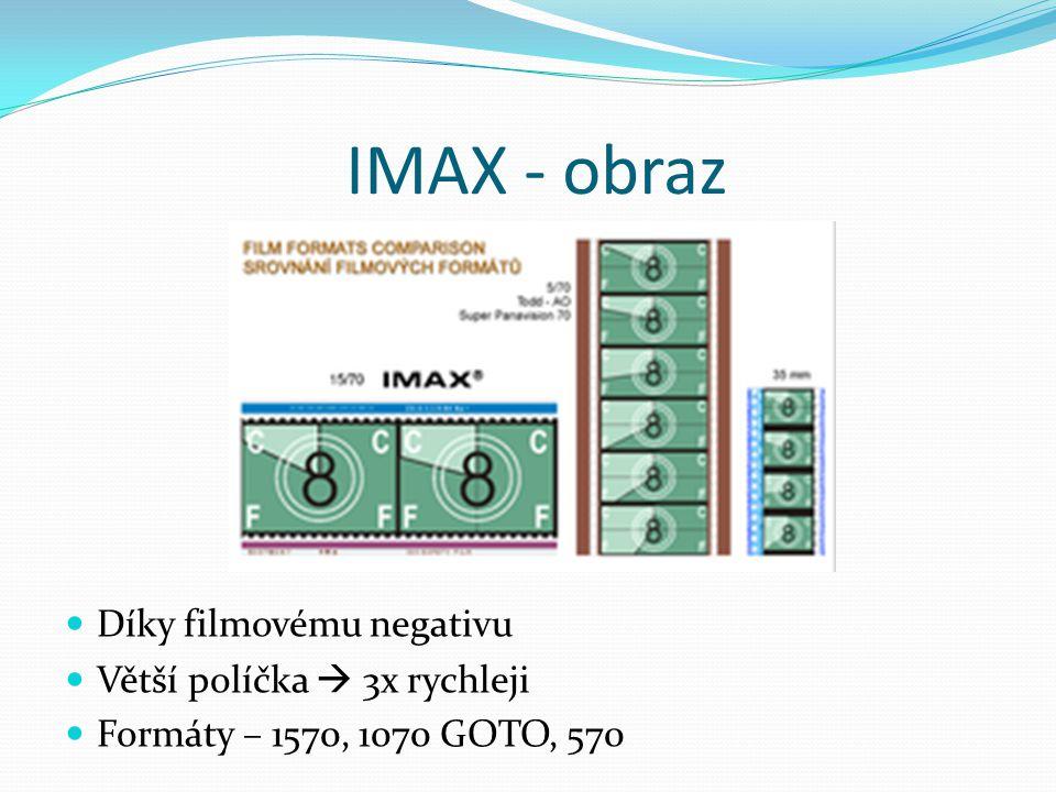 IMAX - obraz Díky filmovému negativu Větší políčka  3x rychleji