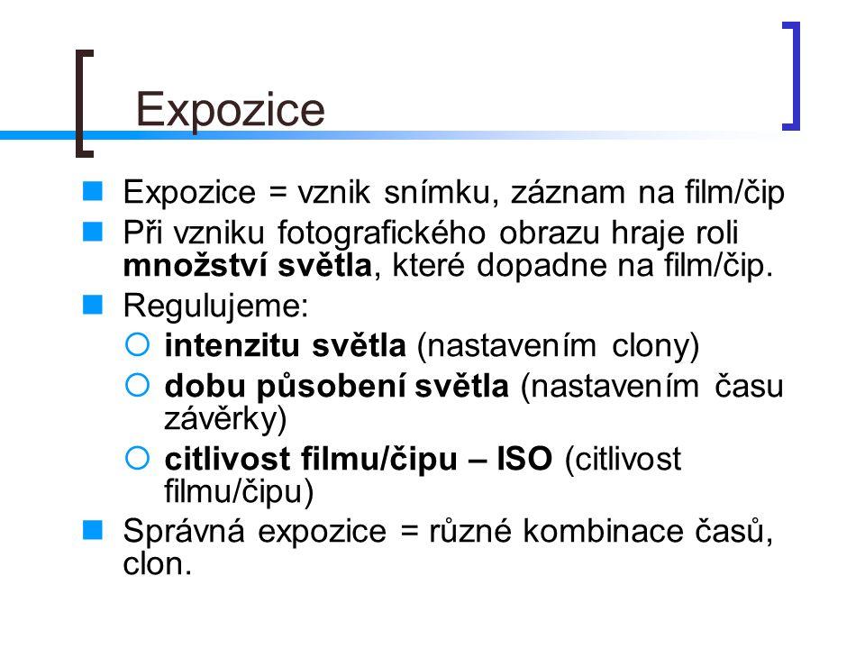 Expozice Expozice = vznik snímku, záznam na film/čip