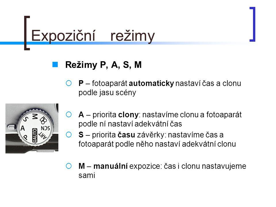 Expoziční režimy Režimy P, A, S, M
