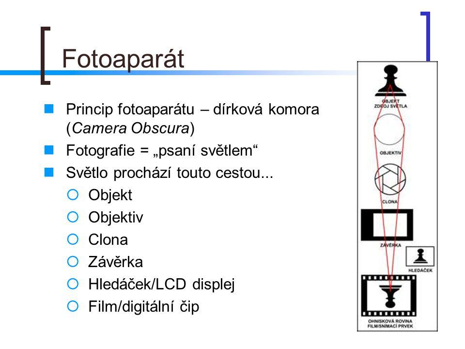 Fotoaparát Princip fotoaparátu – dírková komora (Camera Obscura)
