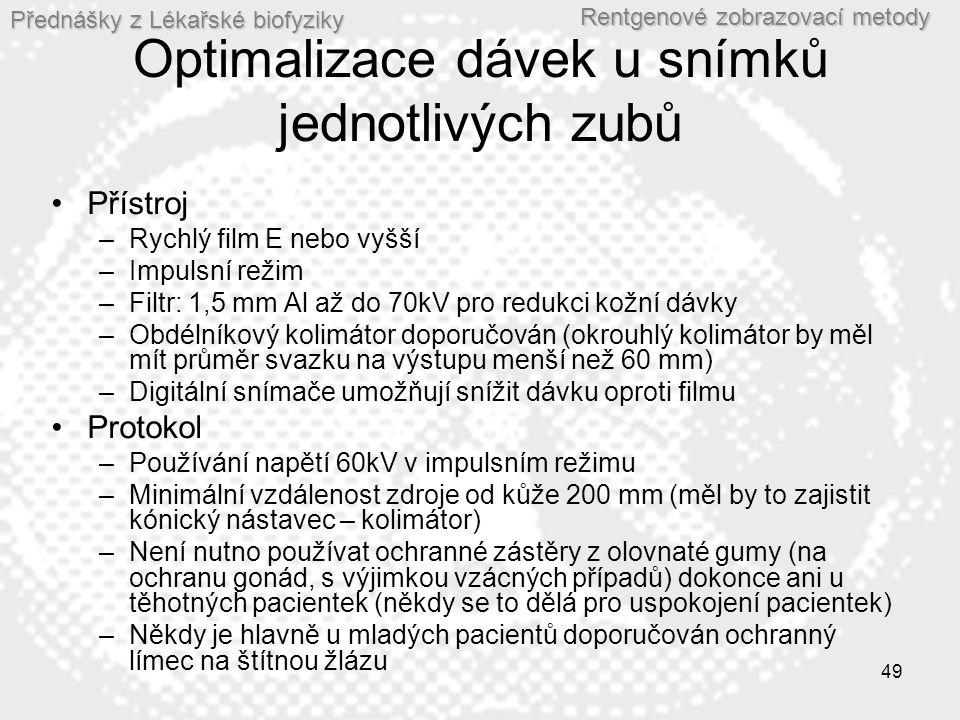 Optimalizace dávek u snímků jednotlivých zubů