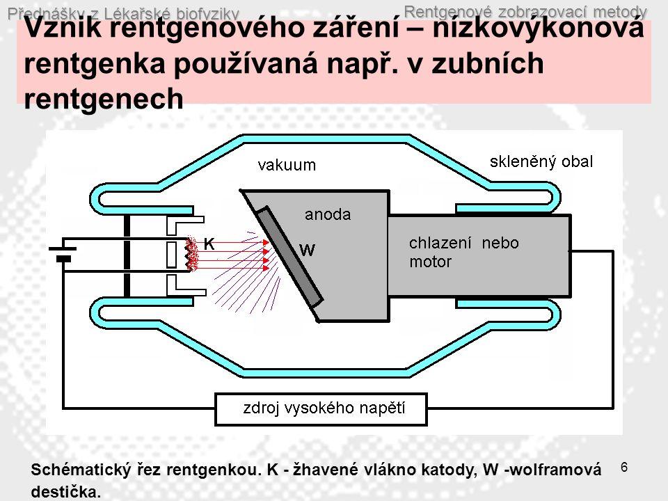 Vznik rentgenového záření – nízkovýkonová rentgenka používaná např