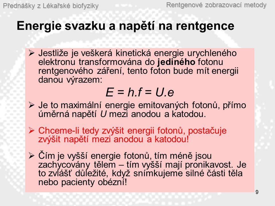 Energie svazku a napětí na rentgence