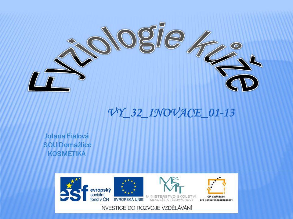 Fyziologie kůže VY_32_INOVACE_01-13 Jolana Fialová SOU Domažlice