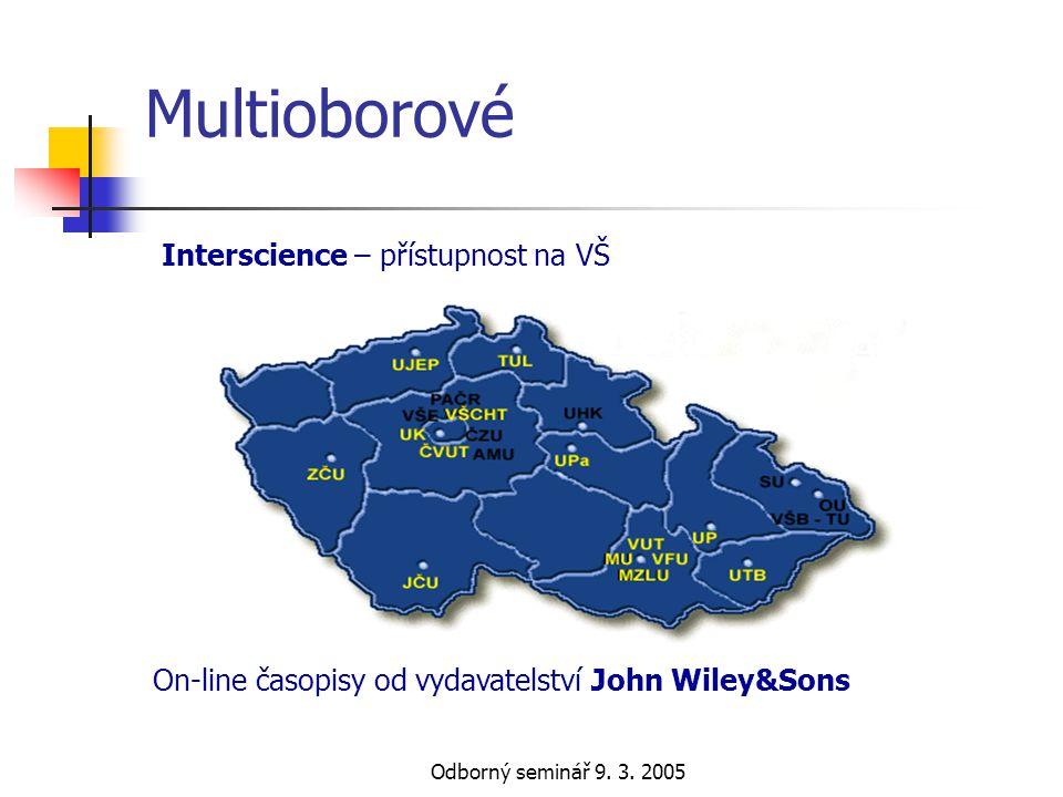 Multioborové Interscience – přístupnost na VŠ