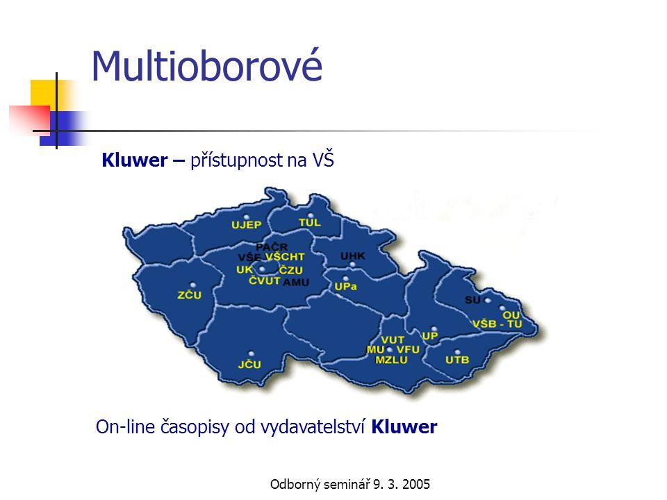 Multioborové Kluwer – přístupnost na VŠ