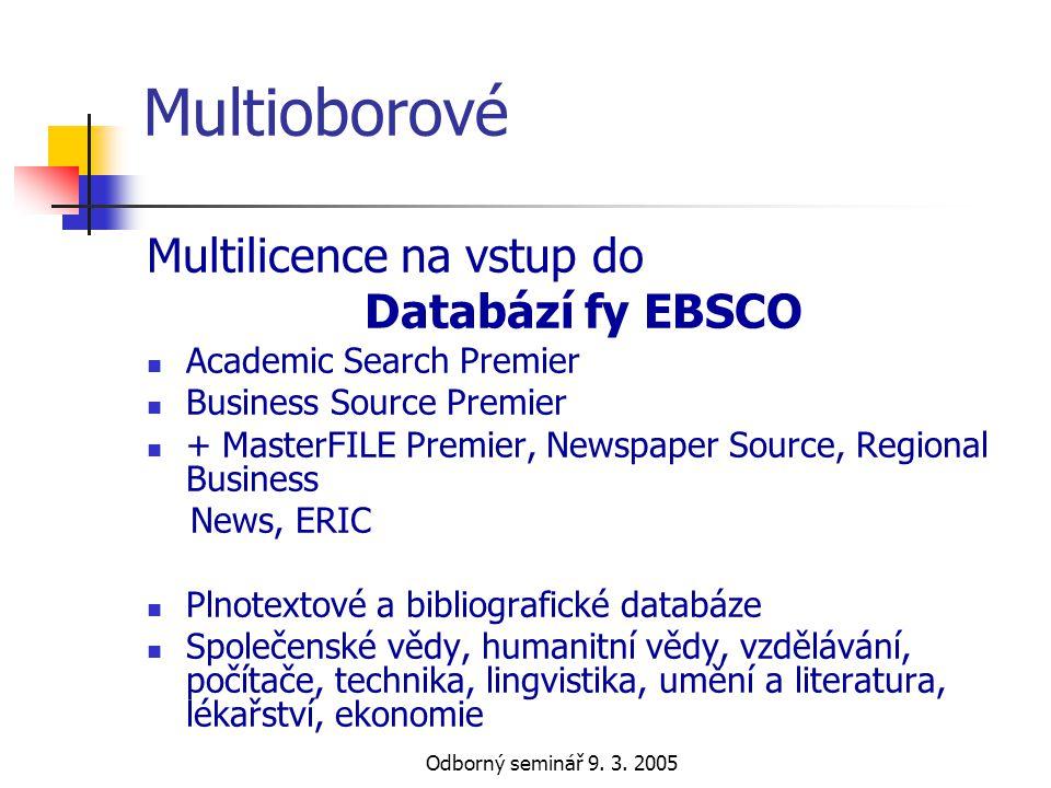 Multioborové Multilicence na vstup do Databází fy EBSCO