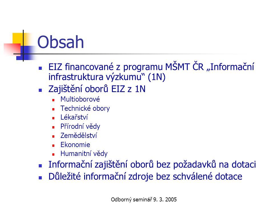 """Obsah EIZ financované z programu MŠMT ČR """"Informační infrastruktura výzkumu (1N) Zajištění oborů EIZ z 1N."""