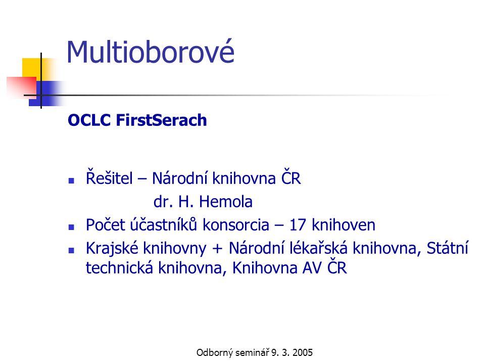 Multioborové OCLC FirstSerach Řešitel – Národní knihovna ČR