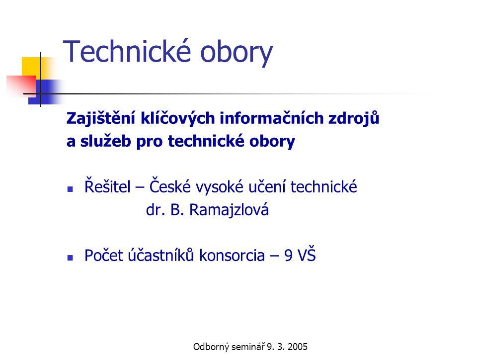 Technické obory Zajištění klíčových informačních zdrojů