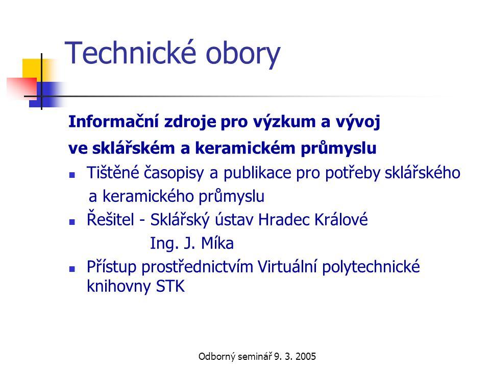 Technické obory Informační zdroje pro výzkum a vývoj