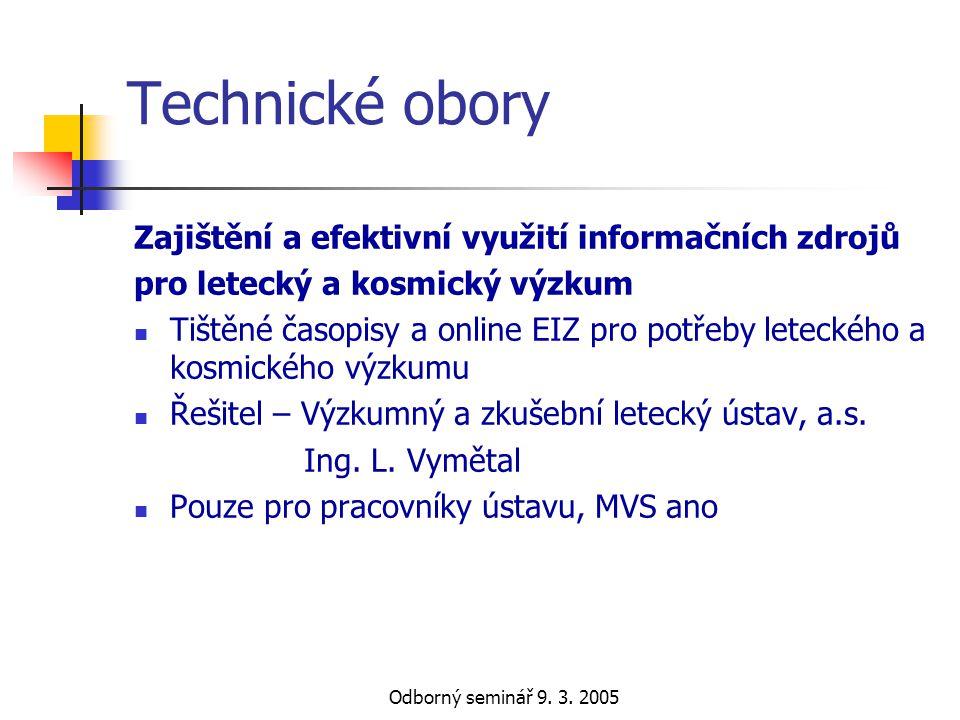 Technické obory Zajištění a efektivní využití informačních zdrojů