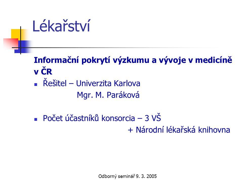 Lékařství Informační pokrytí výzkumu a vývoje v medicíně v ČR