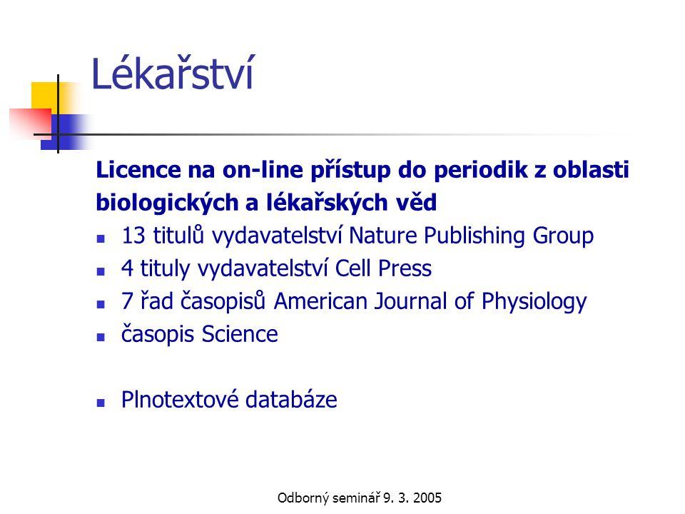 Lékařství Licence na on-line přístup do periodik z oblasti