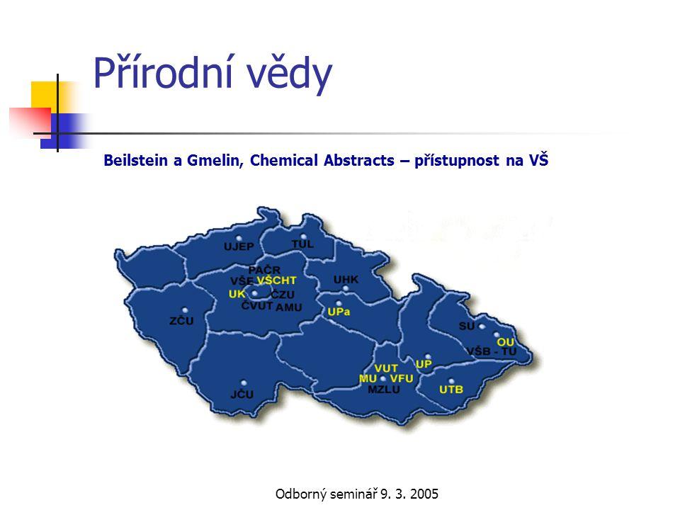 Přírodní vědy Beilstein a Gmelin, Chemical Abstracts – přístupnost na VŠ Odborný seminář 9. 3. 2005