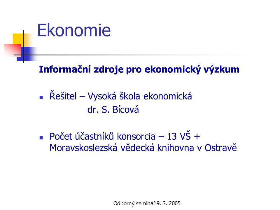 Ekonomie Informační zdroje pro ekonomický výzkum