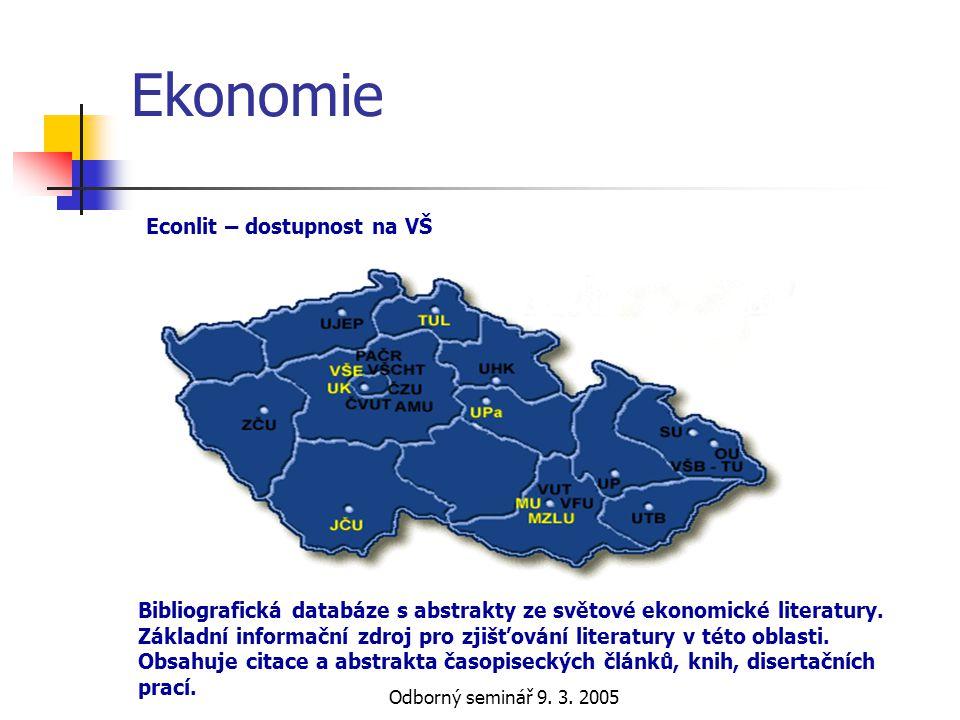 Ekonomie Econlit – dostupnost na VŠ
