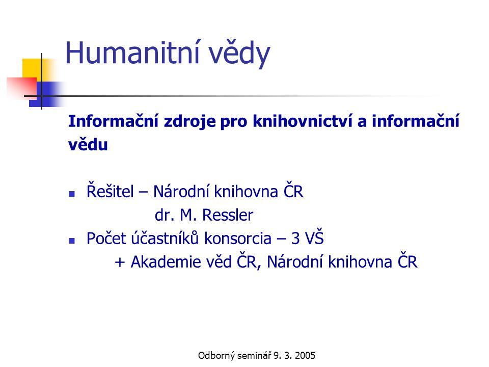 Humanitní vědy Informační zdroje pro knihovnictví a informační vědu