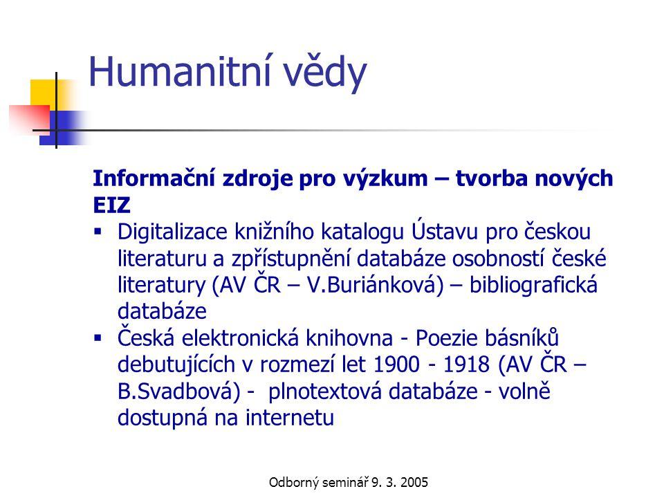 Humanitní vědy Informační zdroje pro výzkum – tvorba nových EIZ