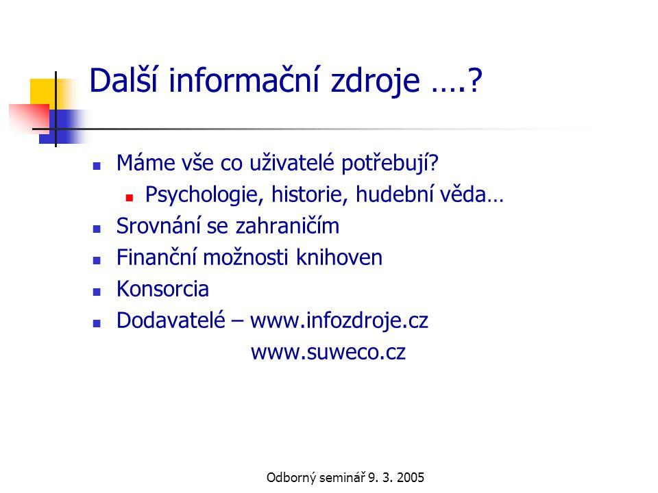 Další informační zdroje ….