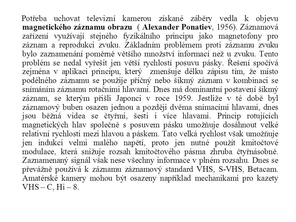 Potřeba uchovat televizní kamerou získané záběry vedla k objevu magnetického záznamu obrazu ( Alexander Ponatiev, 1956).