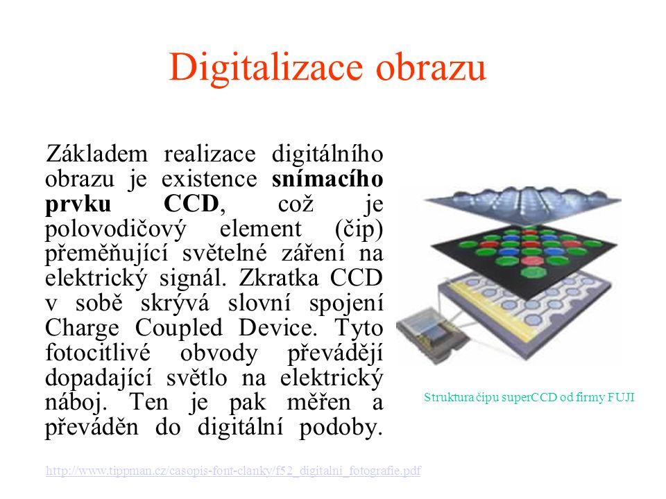 Digitalizace obrazu Struktura čipu superCCD od firmy FUJI