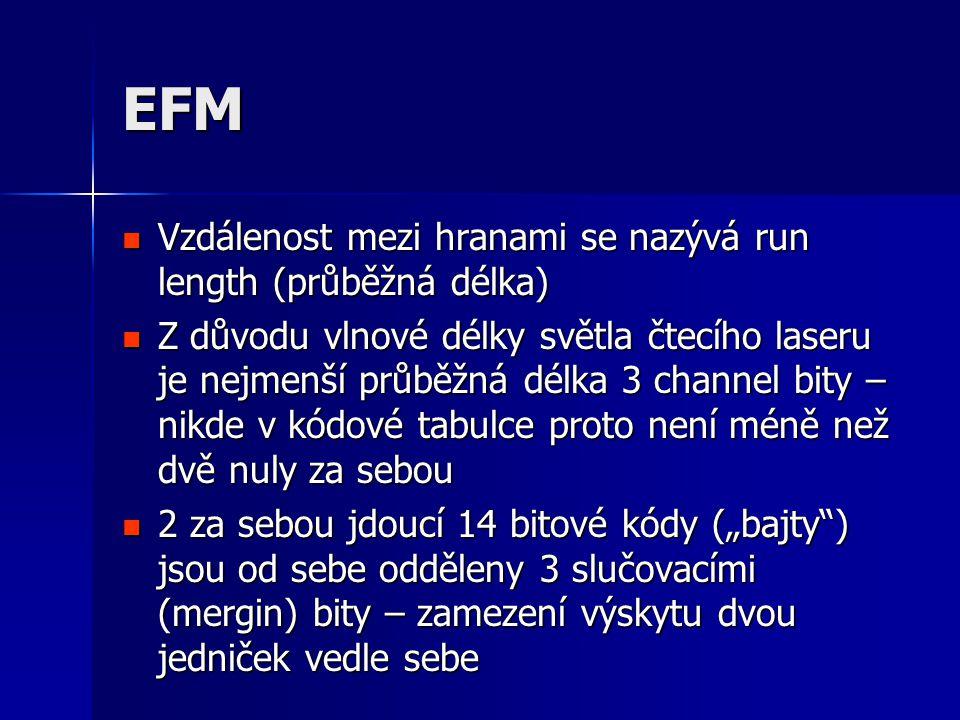 EFM Vzdálenost mezi hranami se nazývá run length (průběžná délka)