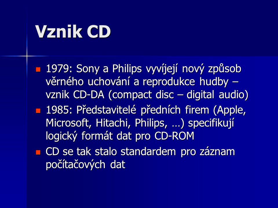 Vznik CD 1979: Sony a Philips vyvíjejí nový způsob věrného uchování a reprodukce hudby – vznik CD-DA (compact disc – digital audio)