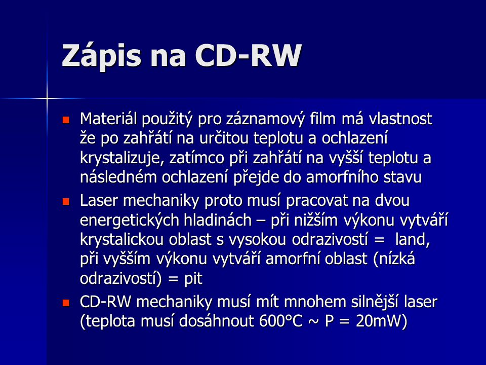 Zápis na CD-RW