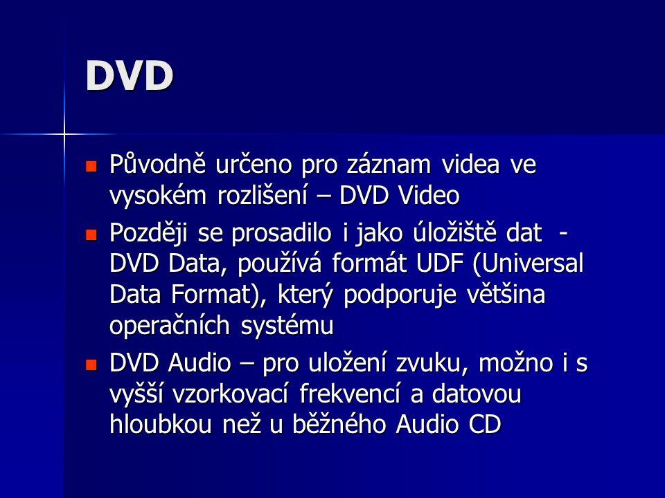 DVD Původně určeno pro záznam videa ve vysokém rozlišení – DVD Video