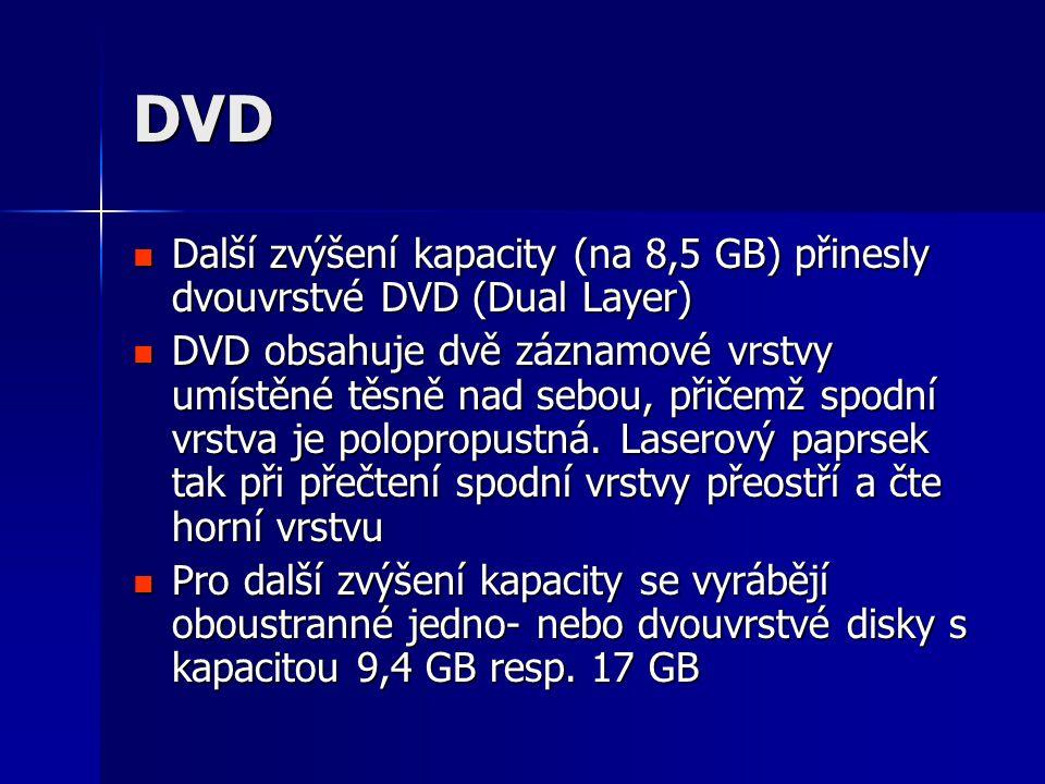 DVD Další zvýšení kapacity (na 8,5 GB) přinesly dvouvrstvé DVD (Dual Layer)