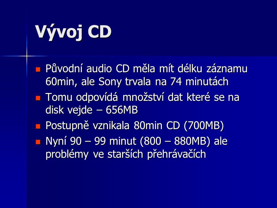 Vývoj CD Původní audio CD měla mít délku záznamu 60min, ale Sony trvala na 74 minutách. Tomu odpovídá množství dat které se na disk vejde – 656MB.