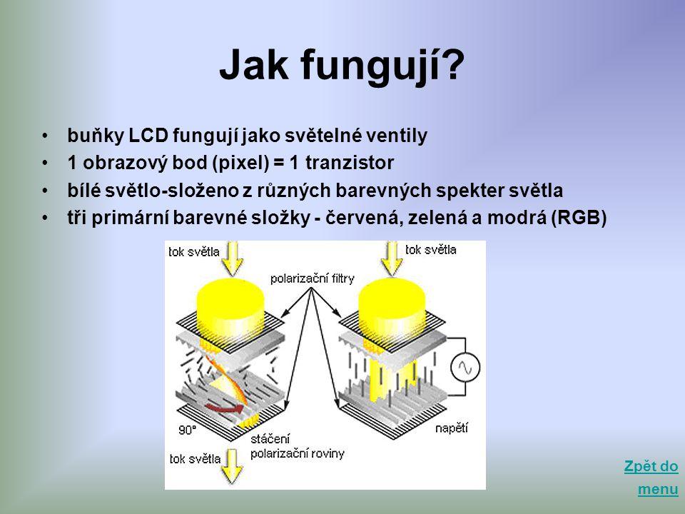 Jak fungují buňky LCD fungují jako světelné ventily