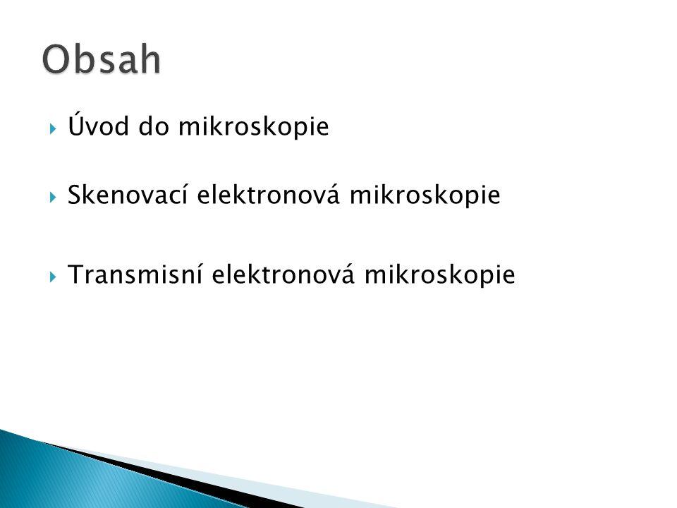 Obsah Úvod do mikroskopie Skenovací elektronová mikroskopie