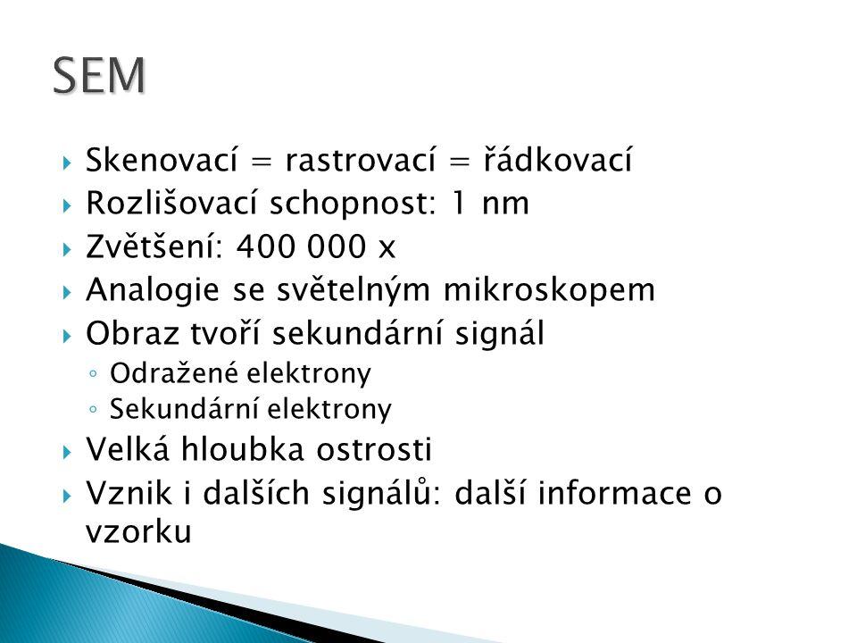 SEM Skenovací = rastrovací = řádkovací Rozlišovací schopnost: 1 nm