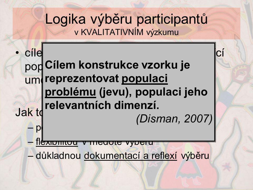 Logika výběru participantů v KVALITATIVNÍM výzkumu