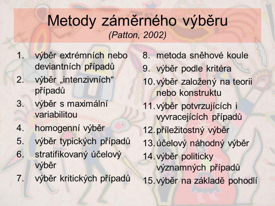 Metody záměrného výběru (Patton, 2002)