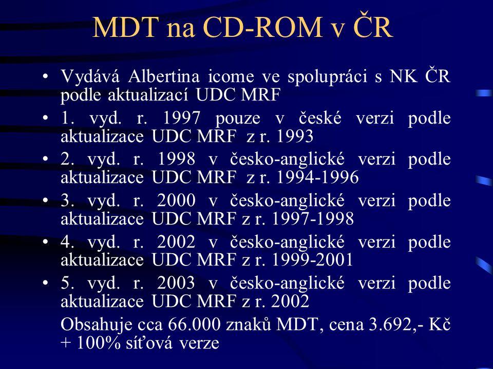 MDT na CD-ROM v ČR Vydává Albertina icome ve spolupráci s NK ČR podle aktualizací UDC MRF.